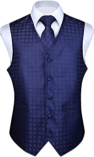 Men's Solid Check Jacquard Waistcoat & Necktie and Pocket Square Vest Suit Set