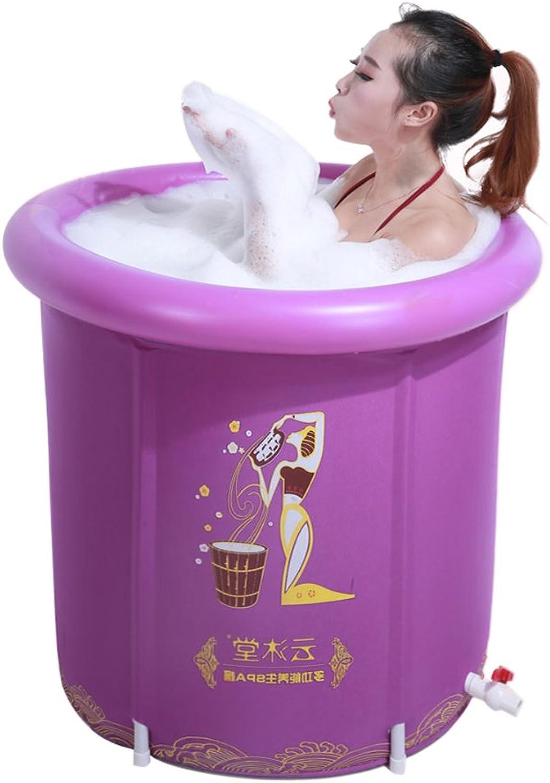 Foldable Inflatable Thick Warm Adults Bathtub,(Purple 7570cm)