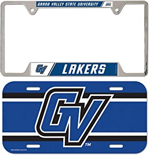 WinCraft Bundle 2 Items: Grand Valley State Lakers 1 Metal License Plate Frame and 1 Plastic License Plate