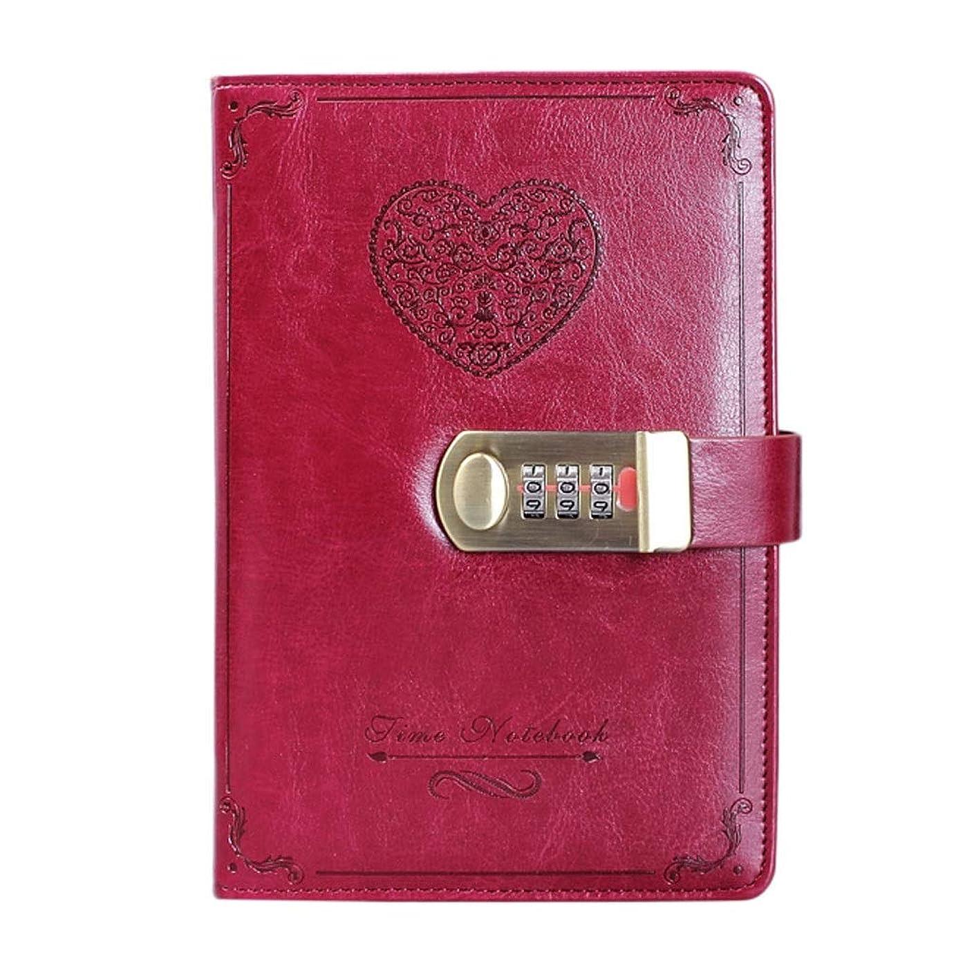 PUレザーノートブック - 女の子かわいいパスワードロック日記青少年旅行スケッチ、学生メモ、B6スモールブック/レコードブック/ピンク/レッド (Color : Red)