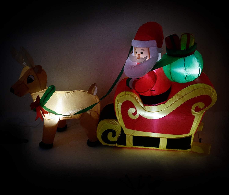 Bubble-Store Weihnachtsmann im Rentierschlitten mit Geblse, beleuchtet, Indoor Outdoor, Lnge ca. 180 cm