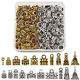 Cheriswelry 200 piezas de cuentas tibetanas de tubo de rosca de oro antiguo y plata para colgar pulseras europeas
