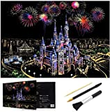 Scratch Art Rainbow Painting Paper, Sketch Pad DIY Night View Scratchboard for Kids & Adults, Engraving Art & Craft Set, Scratch Painting Creative Gift, 16'' x 11.2'' with 3 Tools (Dream Castle)