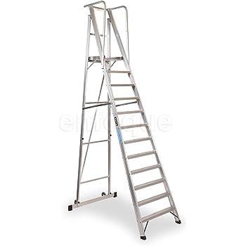 Escalera plegable con plataforma y guardacuerpos 12 peldaños móvil profesional serie 2xl: Amazon.es: Hogar
