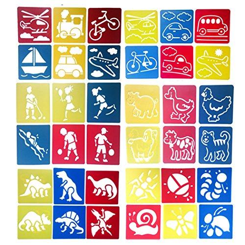 Hillento 6 paquetes (36 piezas) Plantillas de dibujo para niños, plantillas de pintura plástica, manualidades para niños, seis patrones diferentes de plantillas de pintura