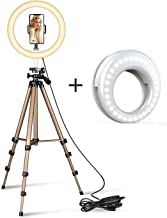 COOLMOBIZ 10 Inch Ring Led Camera Light with Small Led Light,Tripod Stand & Flexible Phone Holder for Live Stream/Makeup,Photo/Video Shoot Led Camera Ringlight for YouTube/TIK-Tok Videos