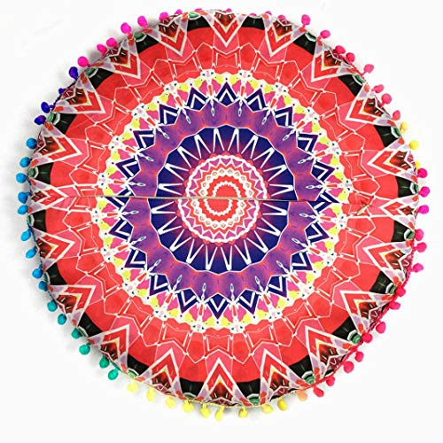 Indian Mandala Floor Pillows Round Bohemian Cushion Cushions Pillows Cover Case Meditation Ottoman Pouf Cover Comfortable Home Car Bed Sofa (Red)