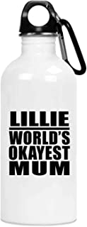 Lillie World's Okayest Mum - 20oz Water Bottle Insulated Tumbler Stainless Steel - for Mother Mom from Daughter Son Kid Wi...