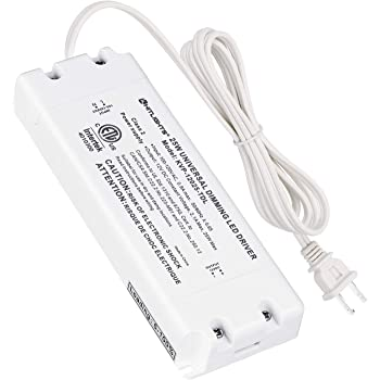 HitLights 25 Watt Dimmable Driver, Electric LED Driver 110V AC-12V DC Transformer Compatible with Lutron&Leviton for LED Strip Lights, Constant Voltage LED Products(Removable AC Cord Included)
