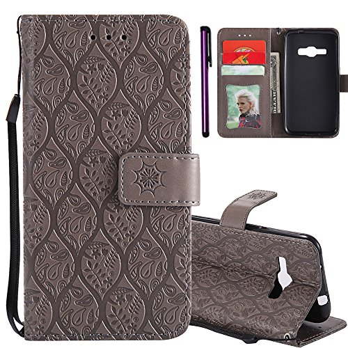 Samsung Galaxy J1 2016 Case ISADENSER Useful Wallet with Photo Frame Card Holder Slots Premium PU Leather [Kickstand] Folio Flip Magnetic Closure Protective Case Cover for Galaxy J120 Rattan Gray