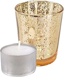 Just Artifacts Speckled Mercury Glass Votive Candle Holder 2.75-Inch (12pcs, Gold Votives) - Includes 12, (8 Hour Burn) Non-Scented Wax Tea Light Candles