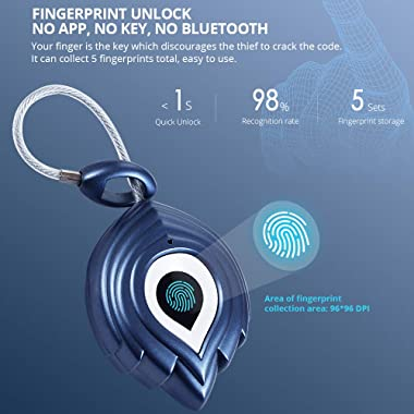 Fingerprint Padlock, Smart Keyless Security Locker Lock, Waterproof Anti-Theft USB Rechargeable for School Locker, Gym, Door,