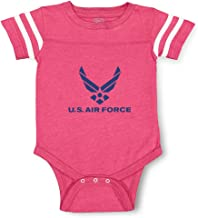U.S Air Force Contrasting Stripes Taped Neck Boys-Girls Cotton Baby Football Bodysuit Sports Jersey - Hot Pink, 6 Months