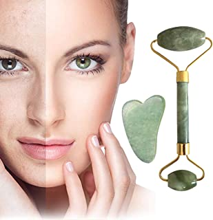 BetterJonny Jade Roller for Face and Gua Sha Scraping Massager Set with Gift Box Natural Jade Stone Roller Gua Sha Scraping Massage Tool for Eyes Neck Body Wrinkles Puffiness