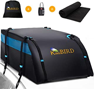 KING BIRD 100% Waterproof Roof Bag with Non-Slip Mat, 20 Cubic Feet Aerodynamic Car Top Cargo Carrier Bag +4 Heavy Duty Do...