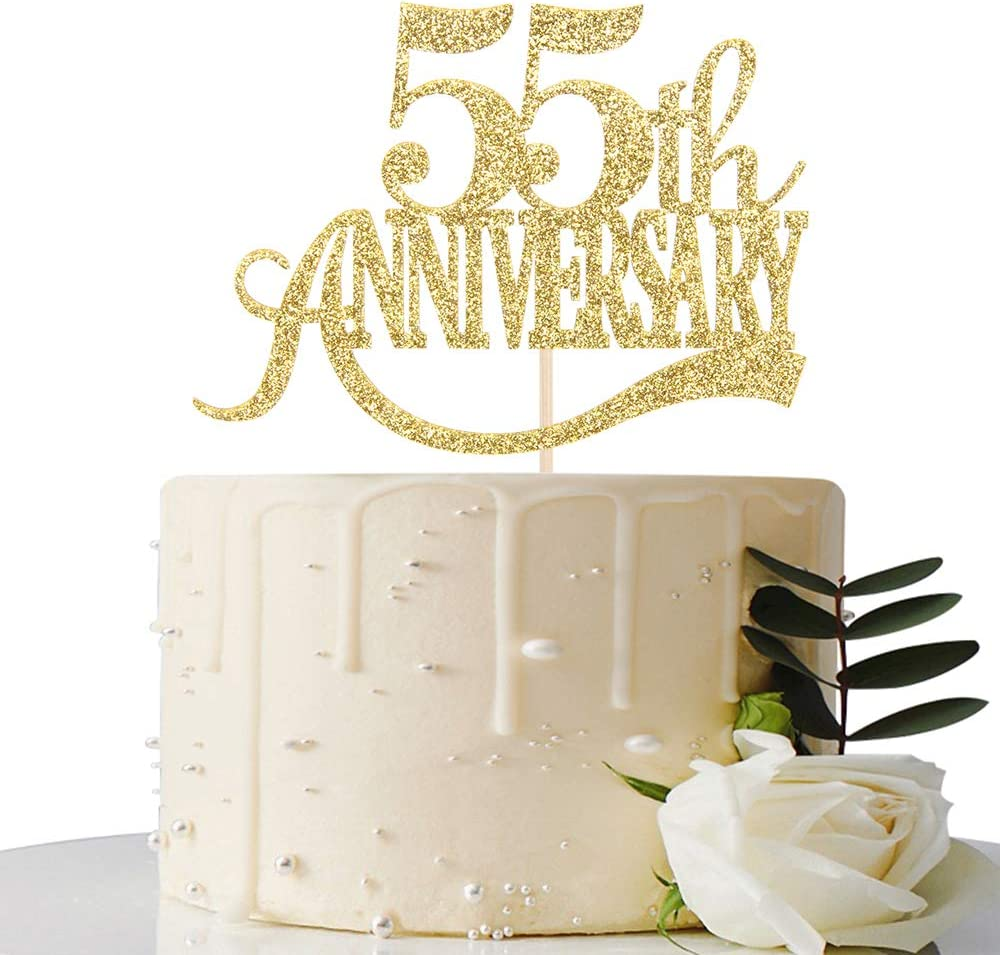 Gold Max 58% OFF Glitter 55th Anniversary Directly managed store Cake Ann - for Topper Wedding
