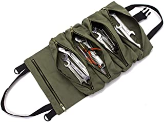 Super Roll Tool Roll,Multi-Purpose Tool Roll Up Bag, Wrench Roll Pouch,Canvas Tool Organizer Bucket,Car First Aid Kit Wrap Roll Storage Case,Hanging Tool Zipper Carrier Tote,Car Camping Gear