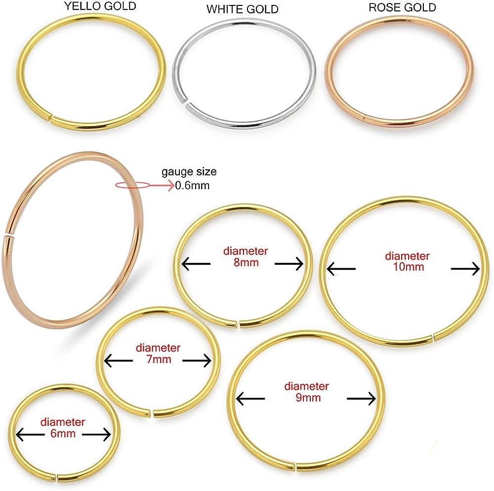 9 Karat Gold 22 Gauge - 6MM Diameter Seamless Continuous Open Hoop Nose Piercing Ring Jewelry