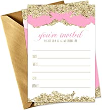 Pink and Gold Invitations with Shimmer Envelopes (15 Pack) Fill-in Style Invites Bridal Shower, Elegant Wedding, Girls Baby Shower, Birthday, Engagement Party, Rehearsal Dinner, Any Occasion