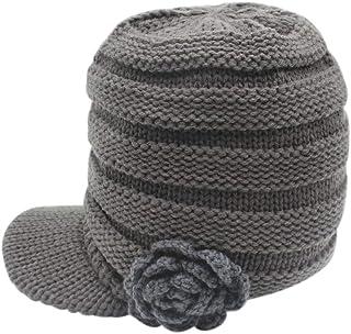 C.C-US Women Winter Warm Hat Knit Visor Brim Cap with Flower Accent