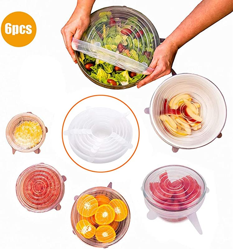 Trrut Silicone Stretch Lids Reusable 6 Pack Of Various Sizes Pack Food Fruit And Vegetable Covers Suit Round Rectangle Square Shapes Platters Dishes Bowls Pots Containers Jars Cans Cups And Glasses