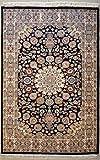 Alfombra oriental negra Ardabil bokhara original hecha a mano en lana elegante diseño auténtico patrón tribal simétrico alfombra para salón dormitorio entrada 124cm X 190cm