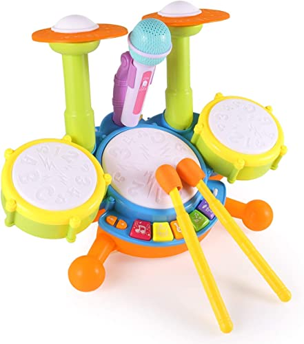 Zistainz Kids Drum Set Drum Set for Kids Electric Toys Toddler Musical Instruments Playset Flash Light Toy with Adjustable Microphone Toys for Boys and GirlsMulti