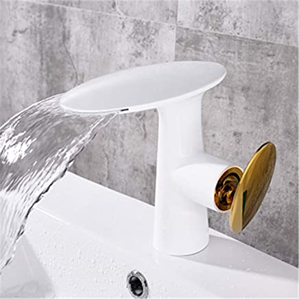 YAWEDA Chrome Black White Basin Faucet Waterfall Faucet Bathroom Faucet Single Handle Basin Mixer Bath Faucet Brass Sink Water,White