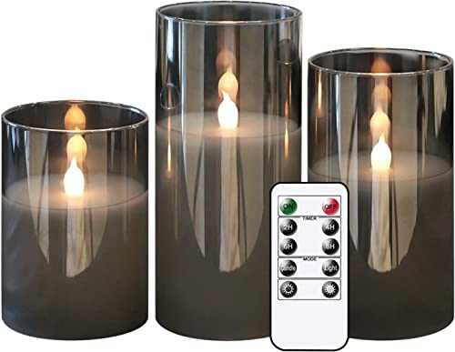 discount GenSwin Gray Glass Battery Operated Flameless Led Candles with 10-Key Remote and Timer, outlet online sale Real Wax Candles Warm White high quality Flickering Light for Home Decoration(Set of 3) outlet sale
