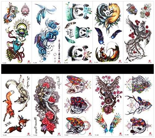 Grasshine 10 stuks tatoeagepanda namaak-tatoeages die echt in de pakketten kijken, waaronder roos, panda, Phoenix, vos, draak, veer, engel, dierenkop, uil enz.