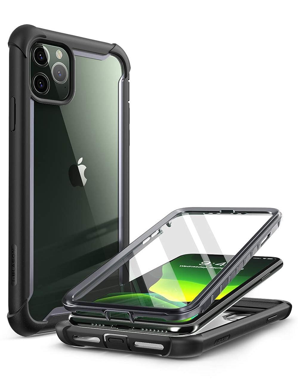 生まれ有名な調停者i-BLASON iPhone 11 Pro Max ケース 6.5インチ 液晶保護フィルム付き 米国軍事規格取得 360°保護 耐衝撃 防塵 クリア Qi充電対応 Aresシリーズ
