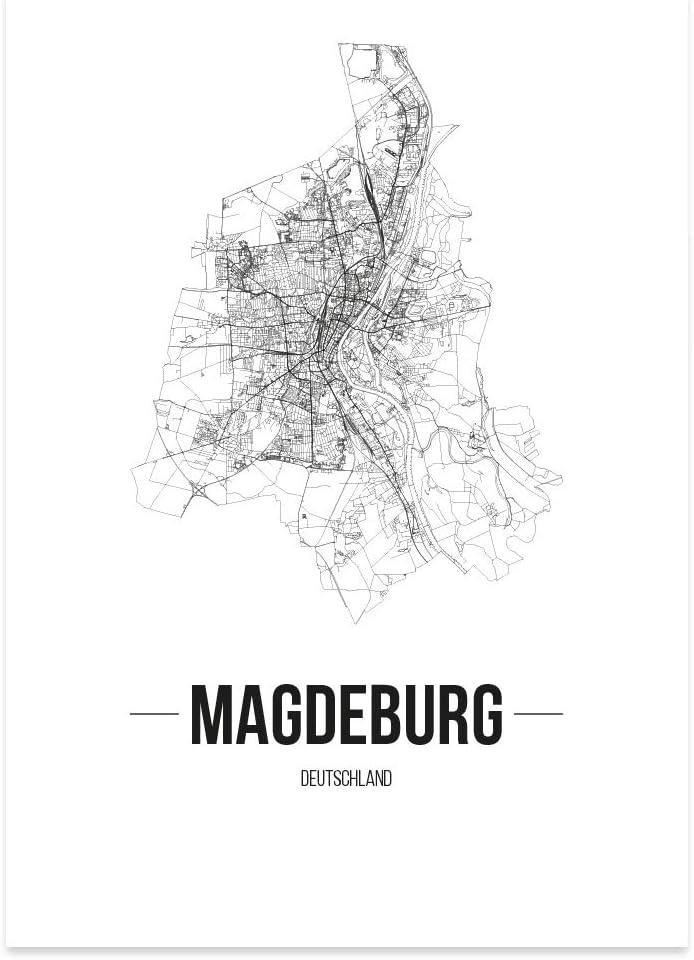 Schrift A 21 x 30 cm W/ähle eine Gr/ö/ße Wei/ß Magdeburg JUNIWORDS Stadtposter Poster