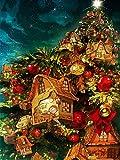 ZXXGA Kits De Pintura De Diamantes DIY 5D para Adultos_Árbol de Navidad Diamond Painting 30x40cm_Cristales de estrás, Bordado, Cuadros, Punto de Cruz Regalo de año Nuevo