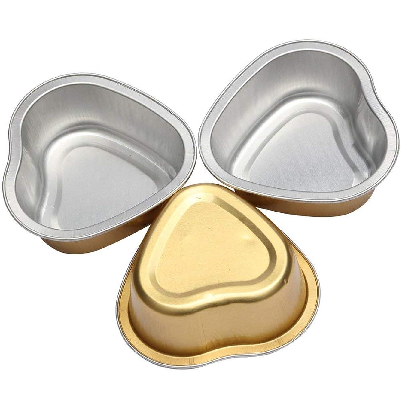 パパレーダー金銭的なハート形溶融ワックスボウルアルミ箔脱毛豆脱毛クリームボウルハート形用ホットフィルムハードワックス - ゴールド