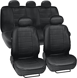Black Synthetic Leather Seat Covers for Car & SUV Complete Set - Premium Leatherette, Side Airbag Compatible