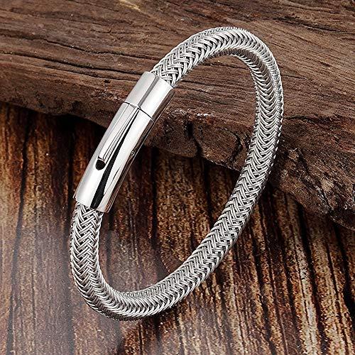 ZWH Moda Simple Pulsera de Acero Inoxidable Charm de Hombre Titanio Brazalete de Alambre de Acero del Titanio Magnet Socket Pulsera Caliente L19156 (Color : B21CM)