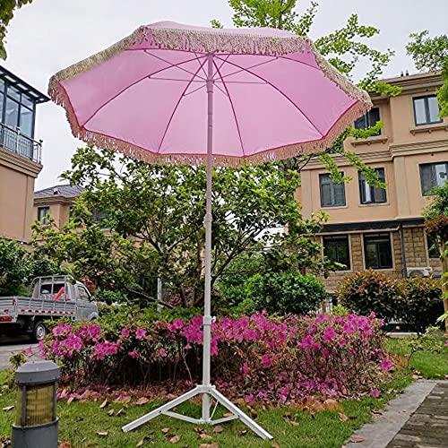 Sombrilla De Jardín Redonda Rosa (sin Base), Sombrilla De Terraza, Sombrilla De Playa Grande con Borlas, (Φ1.4M / Φ1.8M, Opcional), Sombrilla Balcón, Paraguas De Mesa De Patio, Extraíble Plegable