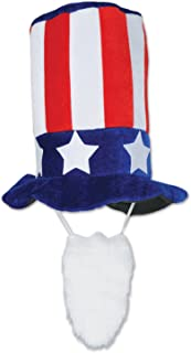Beistle Plush Patriotic Hat with Beard, Red/White/Blue