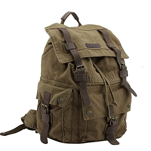 83fcc75eb566 Koolertron Multi-Function Vintage Women Men Unisex Canvas Backpack Leather  Trim Book Bag Rucksack Shoulder