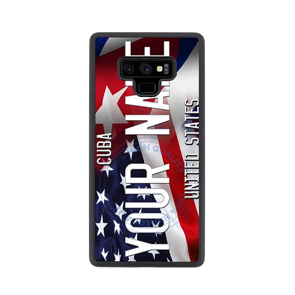 BRGiftShop Customize Your Own Mixed USA and Cuba Flag Rubber Phone Case for Samsung Galaxy Note 9