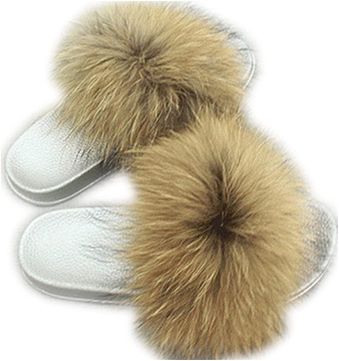 QMFUR Women Real Fox Fur Slippers Fashion Slides Flat Silver Soft Summer shoes for Girls (12, Natural)