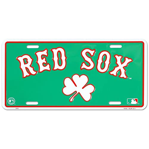 Red Sox Clover License Plate Tin Sign 6 x 12in ddc3bfb757d8