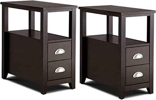 popular Giantex discount End Table Wooden W/ 2 Drawers and online Shelf Space-Saving Rectangular Bedside Table with Metal Handle, Retro Side Table for Living Room Bedroom Home Furniture Side Table (2, Espresso) online