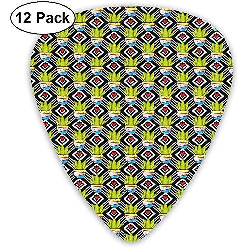 Gitaar Picks 12-Pack, Liefde Themed Geometrische Achtergrond Diamant Patroon Rechthoeken Met Planten In Potten