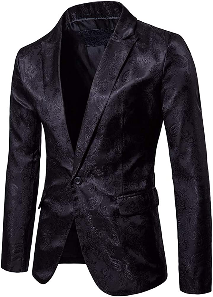 MODOQO Men's Shiny Floral Dress Suit Stylish Wedding Party Dinner Jacket Blazer Prom Tuxedo