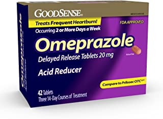 GoodSense Omeprazole Delayed Release Tablets 20 mg, Acid Reducer, Treats Heartburn, 42 Count