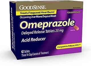 GoodSense Omeprazole Delayed Release Tablets 20 mg,  Acid Reducer, Treats Heartburn, 42 Count
