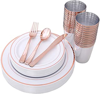 IOOOOO 150 Piece Rose Gold Plates & Plastic Silverware & Rose Gold Cups, Premium Disposable Dinnerware Set Includes: 25 Dinner Plates, 25 Dessert PLates, 25 Tumblers, 25 Forks, 25 Knives, 25 Spoons