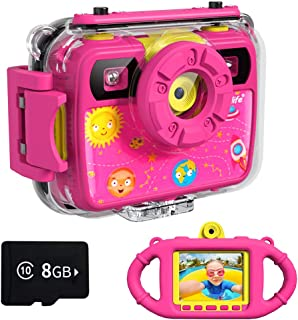 Ourlife Kids Camera, Selfie Kids Waterproof Digital Cameras for Kids 1080P 8MP 2.4 Inch Large Screen with 8GB SD Card, Sil...