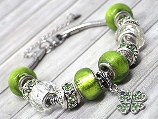 Bracciale verde Charms da donna in acciaio inossidabile Thurcolas modello Manhattan con pendente trifoglio con cristalli